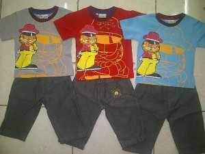 Setelan Garfield Denim AA276 size S(1th),M(2th),L(3th) @63000